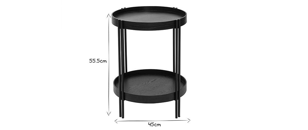 Runder Couchtisch in Eiche schwarz und Metall D45 cm TWICE