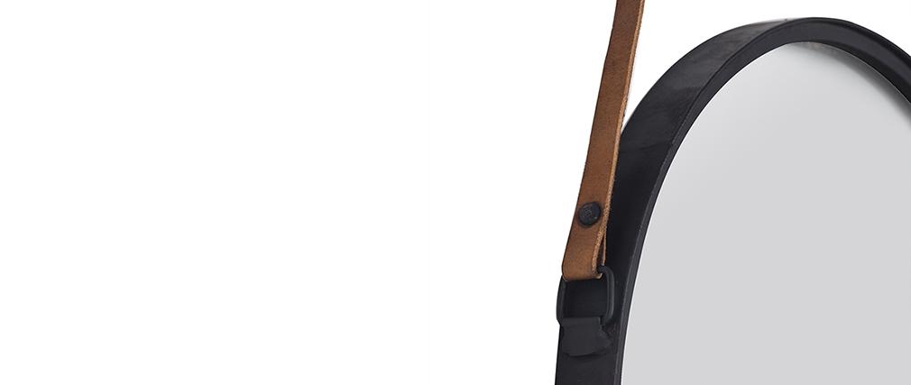 Runder Design-Spiegel KARL schwarzes Metall 40 cm