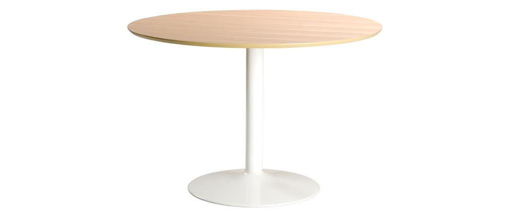 Runder Esstisch aus hellem Holz und weißem Metall D110 cm KALI