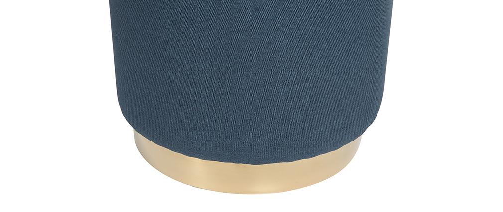 Runder Hocker aus blauem Stoff und vergoldetem Metall BETTY