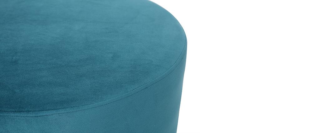 Runder Hocker aus blaugrünem Samt und vergoldetem Metall 54 cm AMAYA
