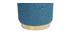 Runder Hocker aus blaugrünem Stoff und vergoldetem Metall BETTY