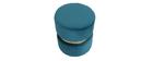 Runder Hocker aus blaugrünem Stoff und vergoldetem Metall JOY