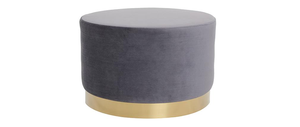 Runder Hocker aus grauem Samtstoff und vergoldetem Metall 54cm AMAYA