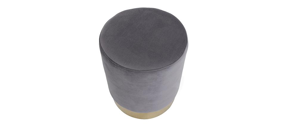 Runder Hocker aus grauem Samtstoff und vergoldetem Metall AMAYA