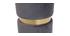 Runder Hocker aus grauem Samtstoff und vergoldetem Metall JOY