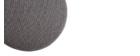 Runder Hocker aus grauem Stoff und vergoldetem Metall BETTY