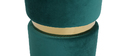 Runder Hocker aus grünem Samtstoff und vergoldetem Metall JOY