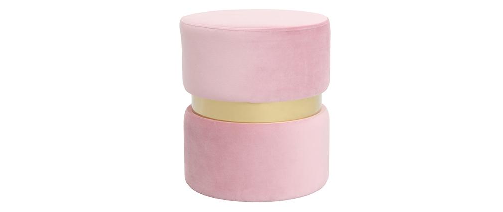 Runder Hocker aus rosa Samtstoff und vergoldetem Metall JOY