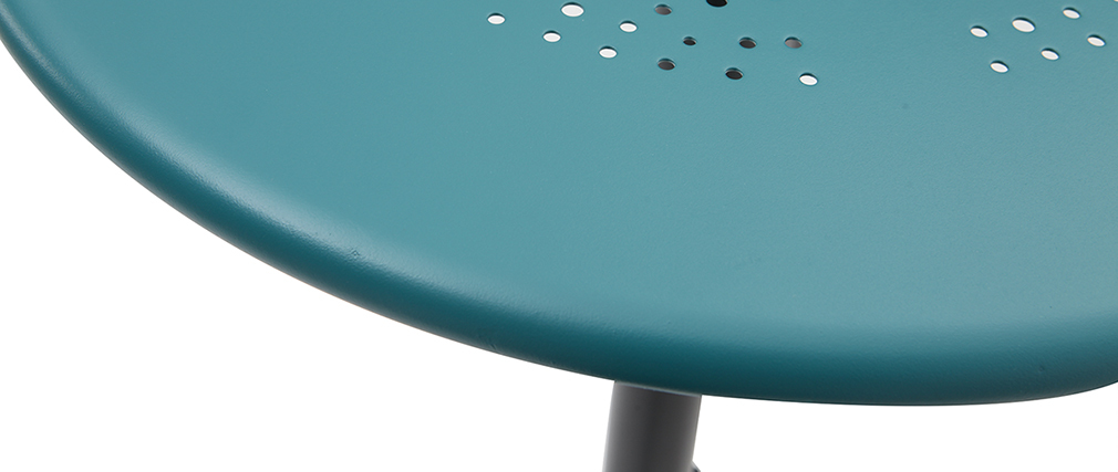 Runder hoher Klapptisch aus blaugrünem Metall DOTS