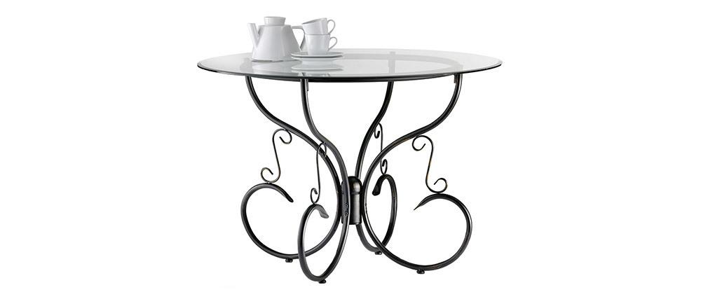 Runder Küchentisch / Esszimmertisch aus Glas und Stahl D110 FLORENCE