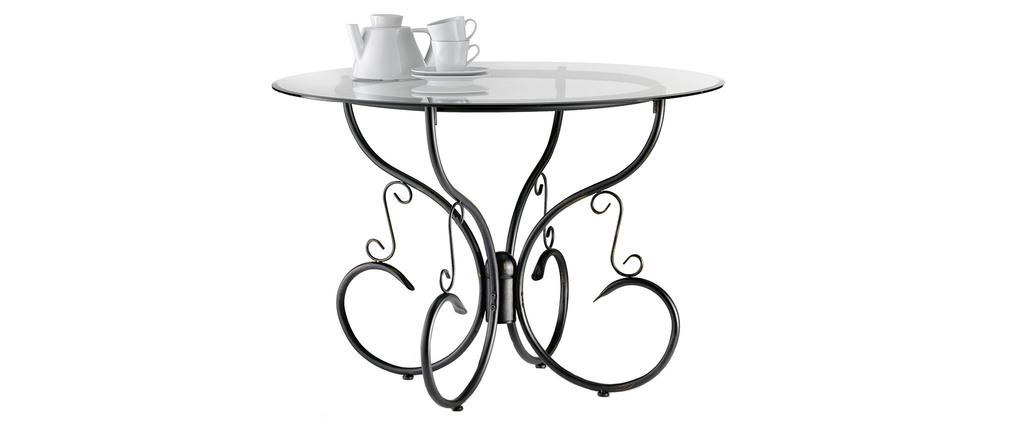 Runder Küchentisch / Esszimmertisch aus Glas und Stahl Florence