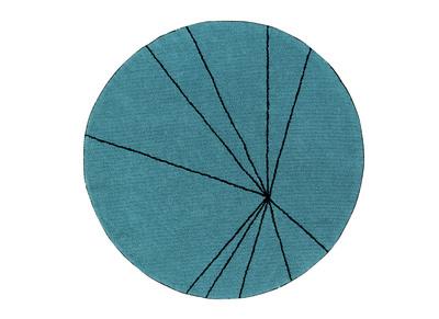 Runder, petrolblauer Baumwollteppich 160 cm RADIUM