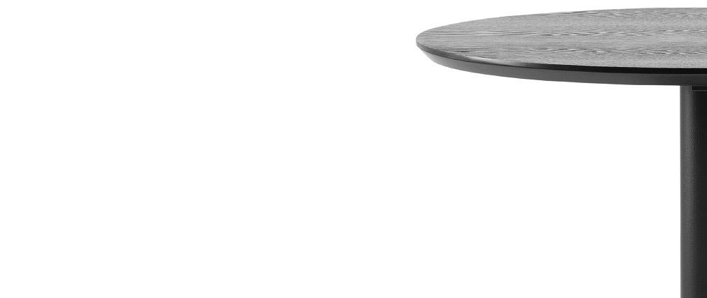 Runder Stehtisch aus schwarzem Holz und Metall D60 cm KALI