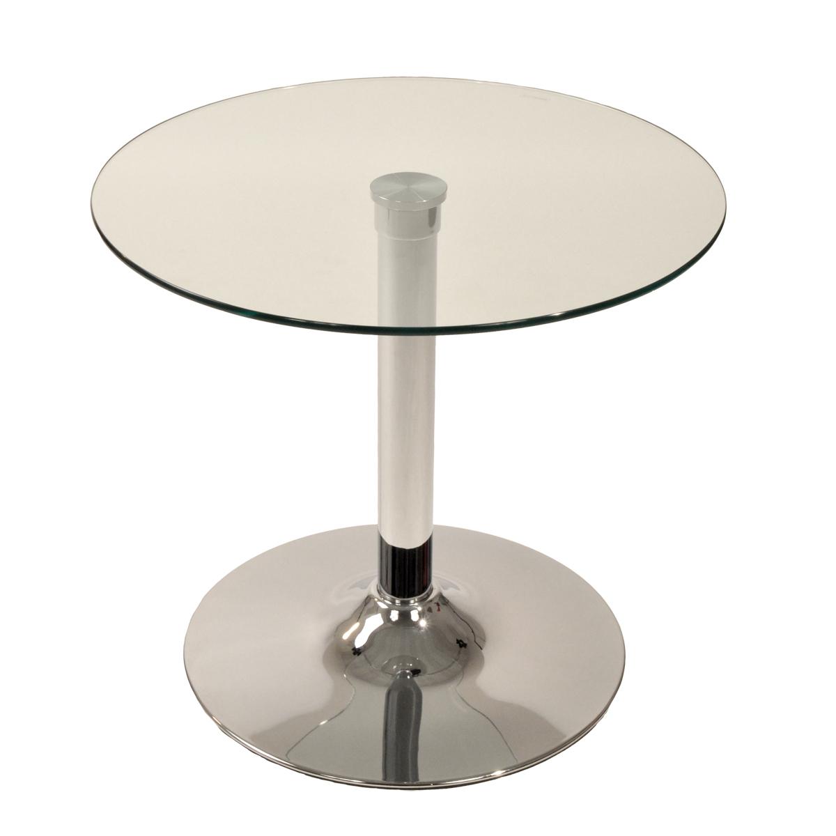 Runder tisch aus glas und chrommetall eddie   miliboo