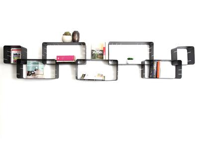 Satz von 7 modulierbaren Design-Regalen KLIK XL Schwarz