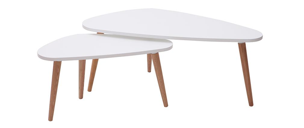 Satztische Beistelltische skandinavisch Weiß und helles Holz 2er-Set ARTIK