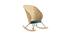 Schaukelstuhl aus Rattan mit petrolblauem Stoff ROBIN