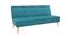 Schlafsofa 3-Sitzer aus blaugrünem Stoff und Holz SHANTI