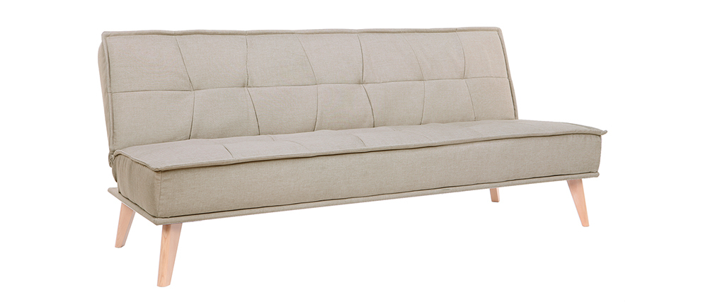 Schlafsofa 3-Sitzer aus naturfarbenem Stoff und Holz SHANTI