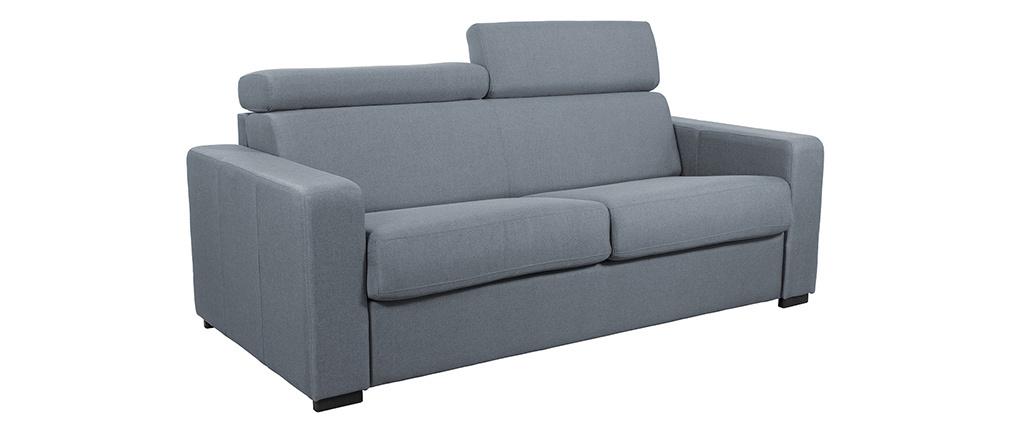 Schlafsofa 3-Sitzer mit verstellbaren Kopfstützen hellgrau NORO