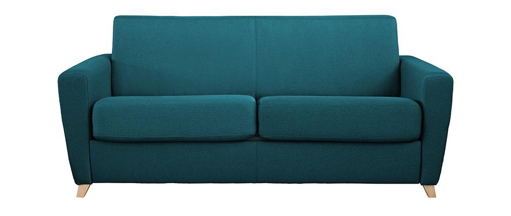 Schlafsofa skandinavisch blaugrün und Holz GRAHAM