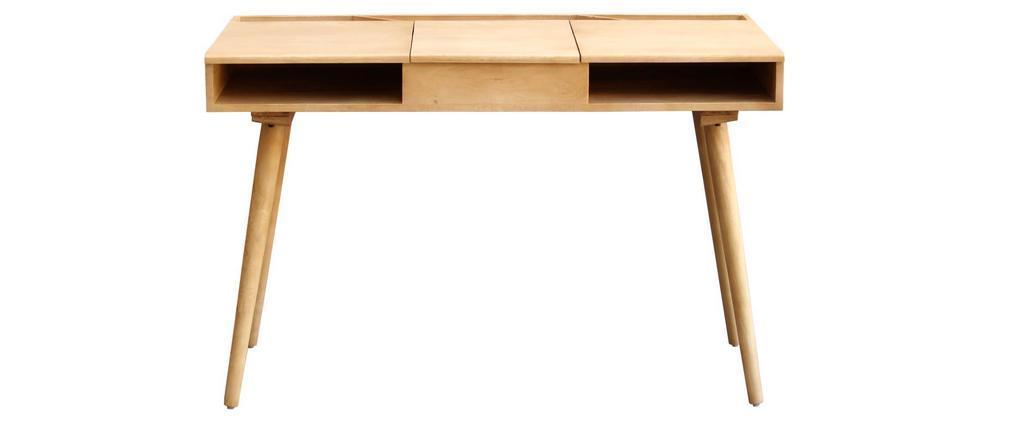 Schreibtisch aus Mangoholz mit Ablagefach und Spiegel PACITO