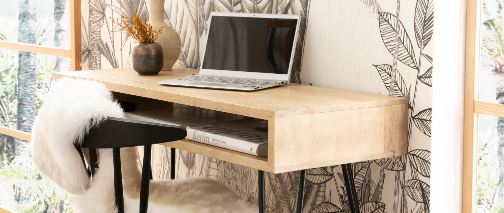 Schreibtisch aus Mangoholz und Metall mit Ablagegestell VIBES