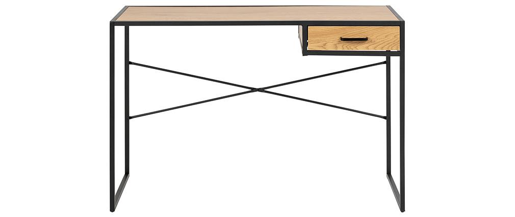 Schreibtisch im Industrial Style aus schwarzem Metall und Holz TRESCA