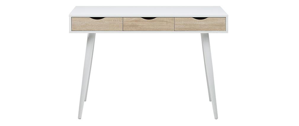 Schreibtisch im skandinavischen Look weiß und Holz BALZAC