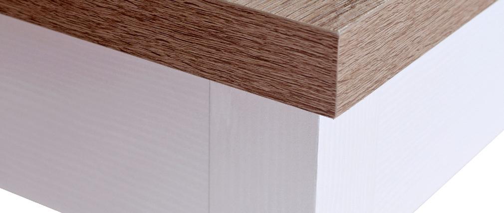 Schreibtisch mit Stauraum Holz und weiß PAGNOL