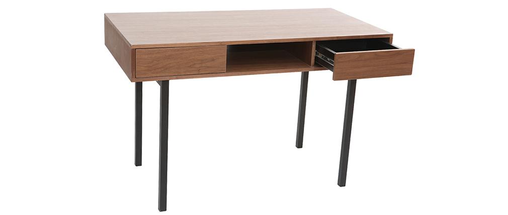 Schreibtisch Nussbaum und Metall Schwarz MANNY