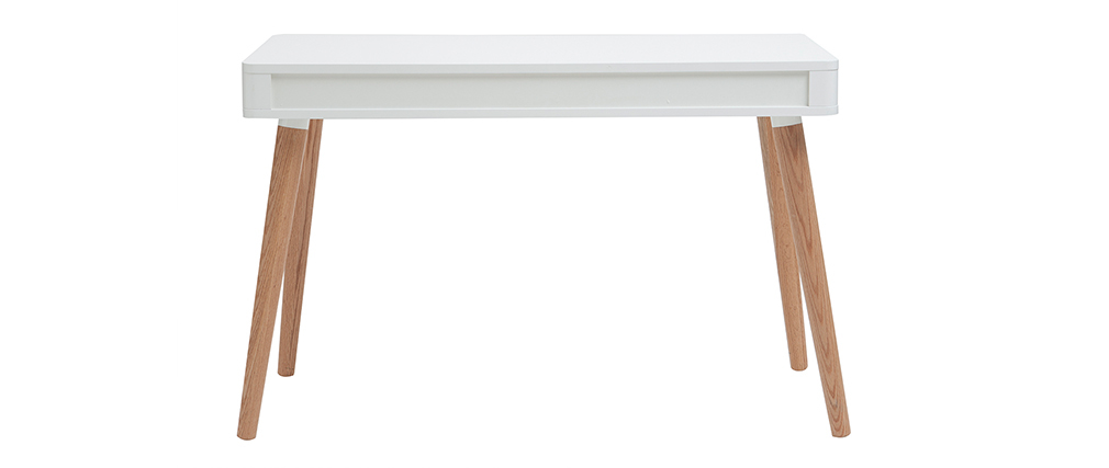 Schreibtisch skandinavisches Design Weiß und Holz TOTEM
