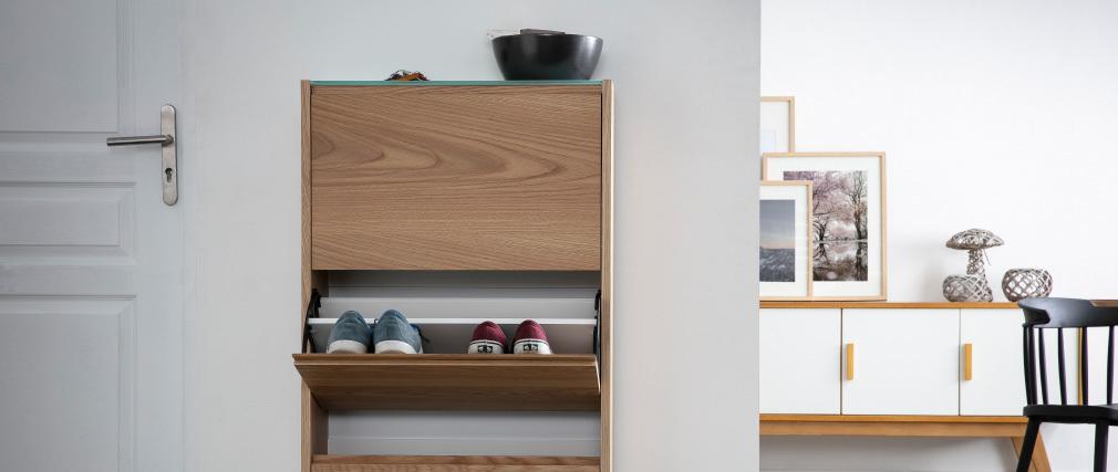 Schuhschrank skandinavisch 3 Fächer Eiche ZAPPA