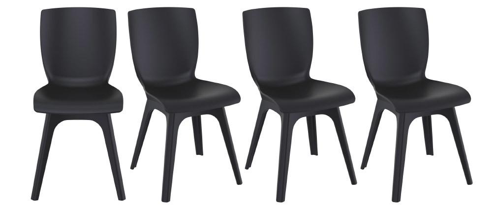 Schwarze Designer-Stühle für innen und außen (4er-Satz) SWAN