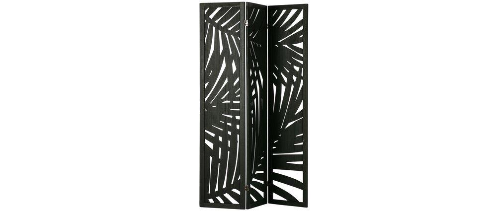 Schwarze Holzwand mit Pflanzenmotiven H170 cm HILO