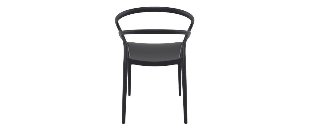 Schwarze Stapel-Designer-Stühle für innen und außen (4er-Satz) COLIBRI