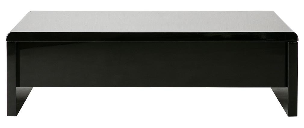Schwarzer Design-Couchtisch LOLA, höhenverstellbar mit Stauraum