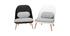 Schwarzer Design-Sessel LEAF mit Stoffpolster und Sesselbeinen aus hellem Holz