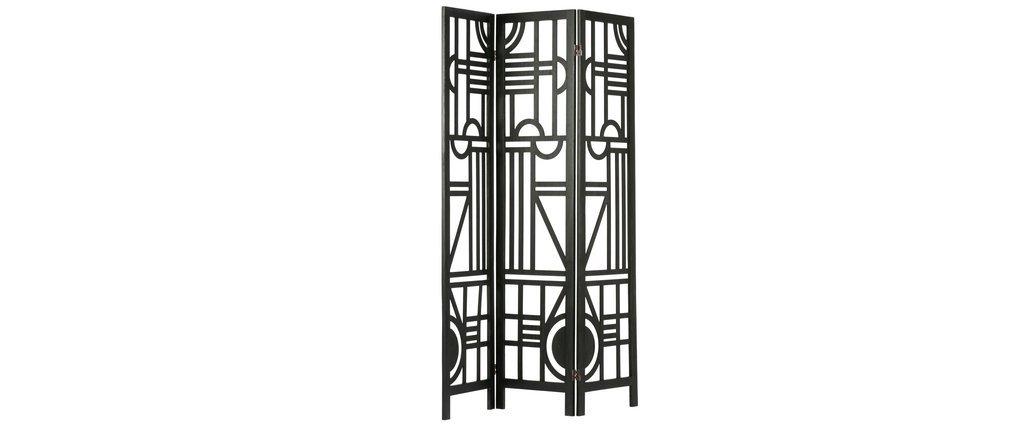 Schwarzer Paravent aus Holz mit geometrischen Mustern H170 cm KEOPS