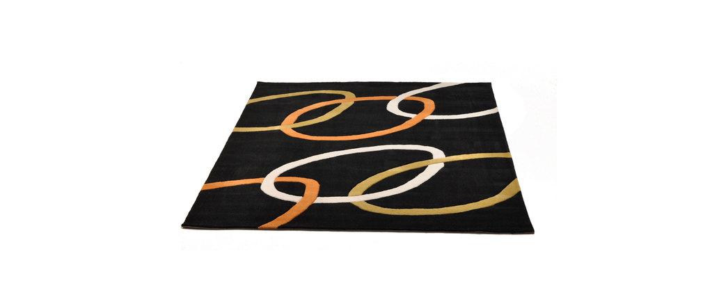 schwarzer teppich aspidistra mit farbigen mustern miliboo. Black Bedroom Furniture Sets. Home Design Ideas