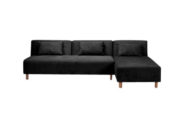 schwarzes konvertibles ecksofa houston aus mikrofaser. Black Bedroom Furniture Sets. Home Design Ideas