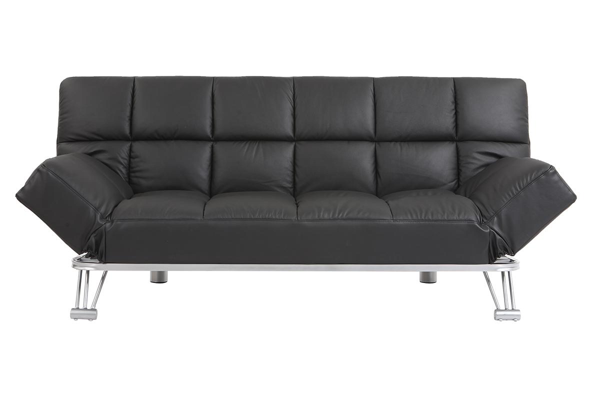schwarzes verstellbares sofa schlafsofa manhattan aus leder dreisitzig miliboo. Black Bedroom Furniture Sets. Home Design Ideas