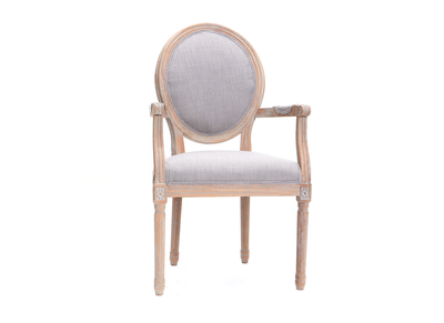 Sessel aus hellgrauem Stoff, Sesselbeine aus hellem Holz LEGEND