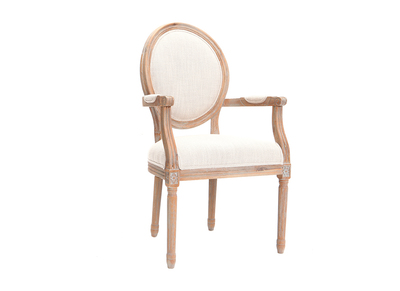 Sessel aus naturfarbenem Stoff und hellen Holzbeinen LEGEND