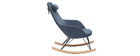 Sessel Schaukelstuhl Velours-Stoff Blau Füße Metall und Holz JHENE