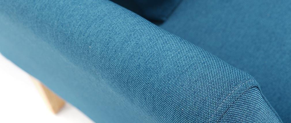 Sessel skandinavisch Blaugrün und Füße aus hellem Holz OSLO