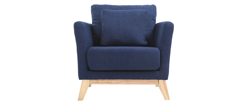 Sessel skandinavisch dunkelblau und f e aus hellem holz for Schreibtischstuhl skandinavisch