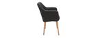 Sessel skandinavisch Dunkelgrau und Füße aus Eichenholz ALEYNA