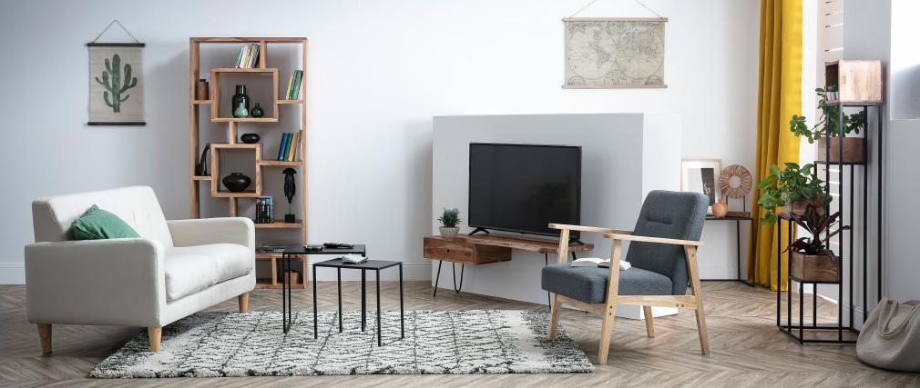 Sessel skandinavisch grau helles Holz ABYSS